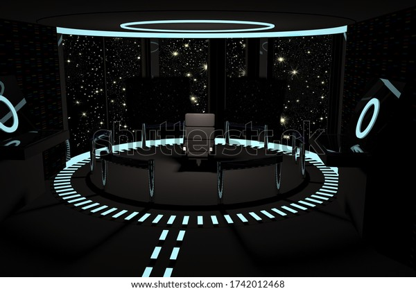 Command deck of a spaceship, 3d rendering