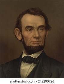 Commemorative portrait of assassinated president Abraham Lincoln. 1877 lithograph.