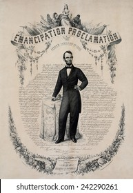 Commemorative print of Abraham Lincoln with the text of the Emancipation Proclamation of January 1, 1863. Print published in 1865.