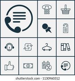 Commerce icons set with dollar banknote, shopping basket, hanger and other pannier elements. Isolated  illustration commerce icons.