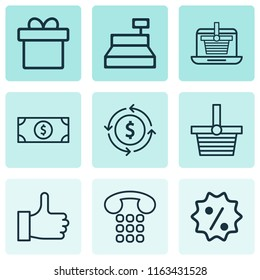 Commerce icons set with gift, shopping basket, like and other pannier elements. Isolated  illustration commerce icons.