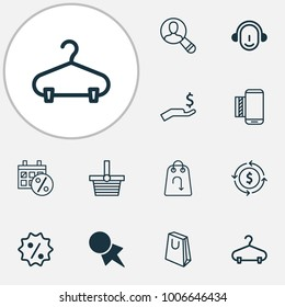 Commerce icons set with rich, pannier, peg and other pannier elements. Isolated  illustration commerce icons.