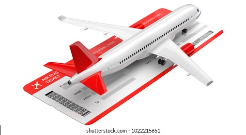 Commercial airplane, airliner with air flight tickets . Passenger plane with a red tail wing, take Off. 3D rendering isolated on white background