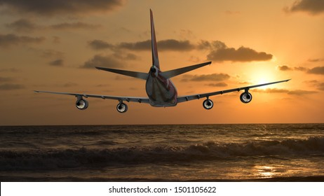 Commercial airplane flying above clouds in dramatic sunset light, 3D rendering,3D illustration