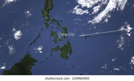 Commercial airplane flying to Cebu city, Philippines, 3D rendering