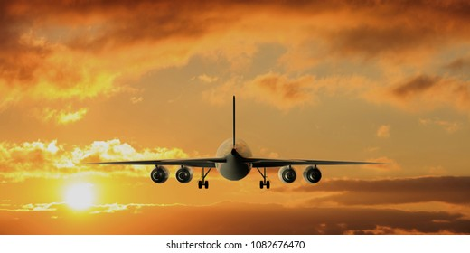 Commercial airplane with four engines flying on sunset or sunrise sky background, back view. 3d illustration
