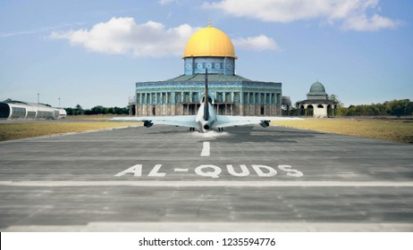 Commercial Airplane Landing Al Quds Dome Of Rock Mosque