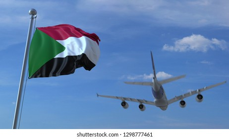 Commercial airplane landing behind waving Sudanese flag. Travel to Sudan conceptual 3D rendering