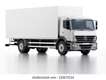 Commercial Delivery / Cargo Truck 3d render isolated on white.