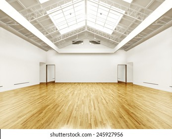 Commercial empty gallery interior with hard wood floors and skylights. Photo realistic 3d rendered illustration