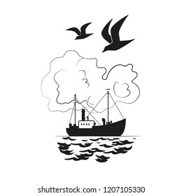 Commercial fishing trawler icon. Ship silhouette on the sea. Side view.Fishermen boat on the ocean. Industrial vessel. Flat black white monochrome simplicity minimalism design illustration