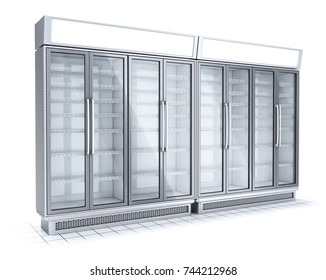 Commercial freezer showcases for supermarkets. 3d image isolated on white.