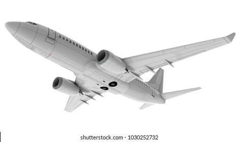 Commercial jet plane isolated on white. 3D render. Bottom view side view