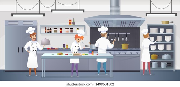Commercial Kitchen with Cartoon Characters Chef Cook Dish Dinner. Illustration of restaurant kitchen with Culinary Staff Holding Round Cloche Tray with Food.