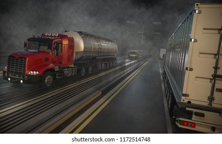 Commercial Land Vehicles Moving Along the Highway at Night 3d rendering