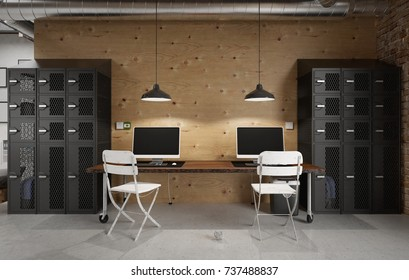 Commercial office in an industrial interior - 3 d render