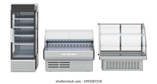 Commercial refregeration equipment. Curved glass refrigerated display case for bakery, deli display case and swing glass door merchandiser refrigerator. 3D rendering isolated on white background