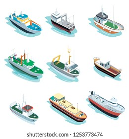Commercial sea ships isometric elements. Container ship, fishing trawler, barge boat, port towboat, lng tanker, tugboat, crane vessel illustration. Worldwide commercial marine transportation.