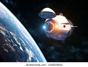 Commercial Spacecraft With Open Docking Hatch Orbiting Earth. 3D Illustration.