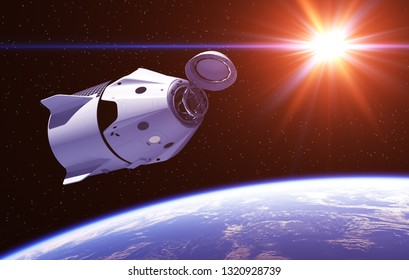 Commercial Spacecraft In The Rays Of Red Sun. 3D Illustration.