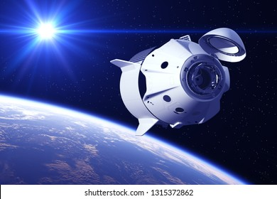 Commercial Spacecraft In The Rays Of Sun. 3D Illustration.