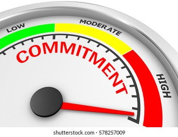 Commitment level to maximum conceptual meter, 3d rendering