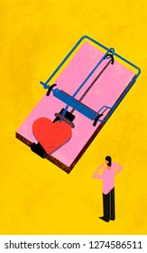 Commitment phobe. Colorful illustration shows a person who is resistant or averse to commitment, especially in a romantic relationship. Concept shows a trap with red heart as a bait.