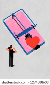 Commitment phobe. Colorful illustration shows a person who suffer a patter of avoiding emotionally intimate relationships. Concept shows a trap with red heart as a bait.