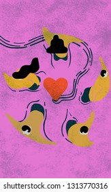 Commitment phobe. Conceptual colorful illustration shows you folk in panic run away swimming from love.