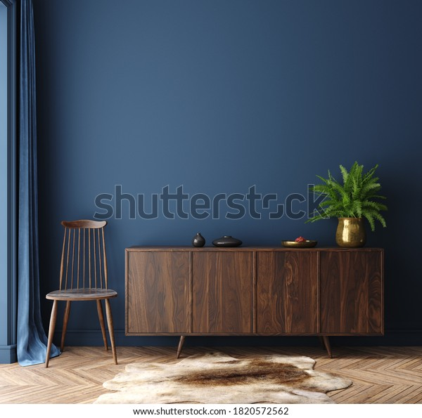 Commode with chair and decor in living room interior, dark blue wall mock up background, 3D render