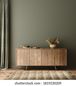 Commode with decor in living room interior, dark green wall mock up background, 3D render