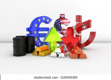 Commodities including crude oil, gold, silver, copper, euro, dollar and turkish lira exchange. 3D Render.