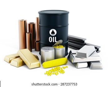 Commodities including crude oil, gold, silver, copper, platinum and corn