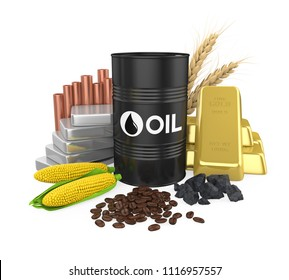 Commodities - Oil, Gold, Silver, Copper, Corn, Coal, Wheat and Coffee Beans. 3D rendering