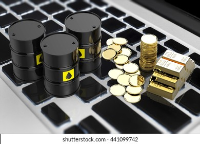 commodity online trade concept with 3d rendering black barrels and gold coins on keyboard