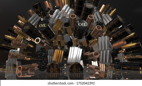 Commodity trade of raw materials crude oil, gold, silver, on global commodities market - 3D render illustration