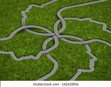 Common strategy business concept with a group of roads and highways in the shape of a human head coming together and merging into a connected network of success on a grass background.