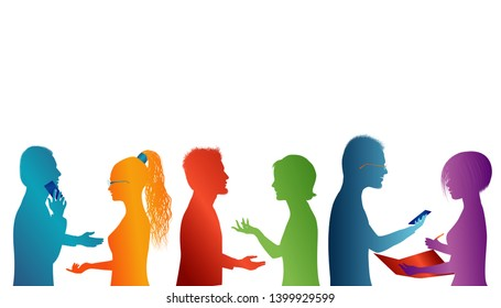 Communication between a group of people talking. Concept teamwork. Speech among people. Young people who work well together. Silhouette of colored profile