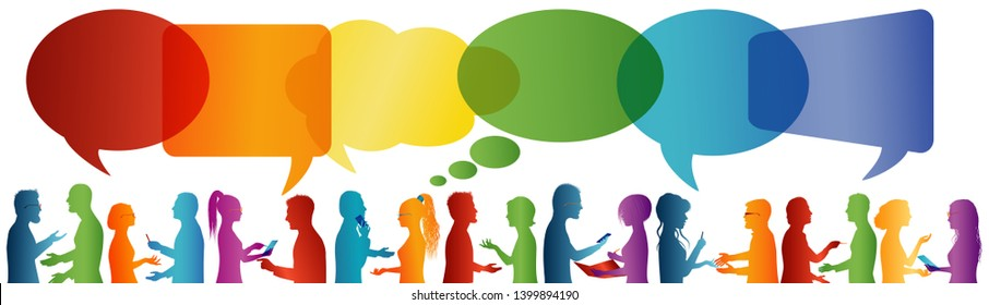Communication between large group of people who talk. Speech bubble. Crowd talking. Communicate social networking. Dialogue between people. Multicolored profile silhouette
