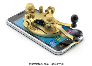 Communication evolution concept with morse code telegraphy device on the mobile phone - 3D illustration