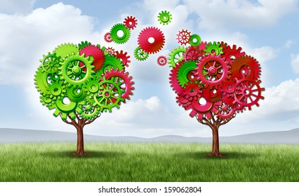 Communication exchange partnership and teamwork joining forces symbol as two trees made with gears and cogs as a business metaphor and concept of network connections with technology transfer.