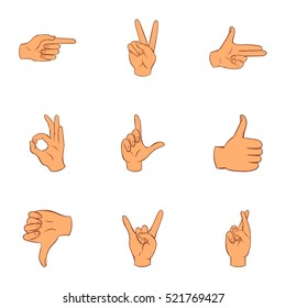 Communication gestures icons set. Cartoon illustration of 9 communication gestures  icons for web