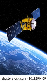 Communication Satellite Orbiting Earth. 3D Illustration.