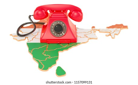 Communication services in India, 3D rendering isolated on white background