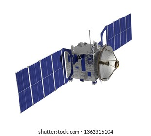 Communication Space Satellite Isolated On White Background. 3D Illustration.