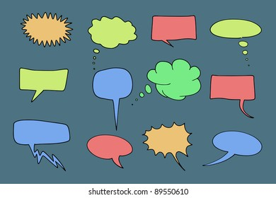 Communication speech bubbles set. Chat and thought illustration collection.