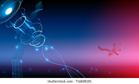 Communication technology. Wireframe background. The satellite transmits the signal from space to earth. technological abstraction. Broadcasting
