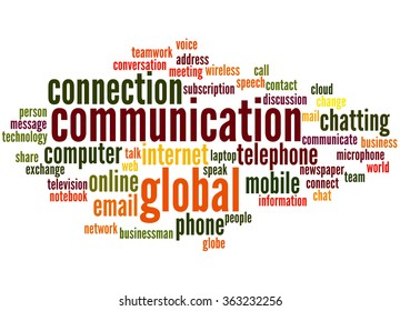 Communication, word cloud concept on white background.