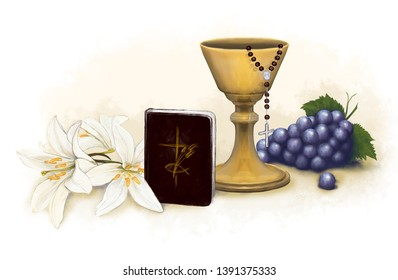 Communion picture, boy, rosary, chalice, lilies