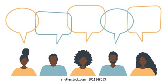 Community of black people. Communication of men and women. People icons with speech bubbles. Raster illustration
